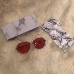3fdddc85db189 Diff Eyewear Accessories - Koko Khloe Kardashian Red Gold Aviators
